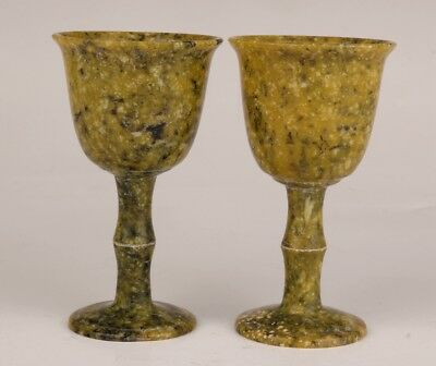 Pair Old Natural Jade Carved Into Royal Wine Cups Goblets