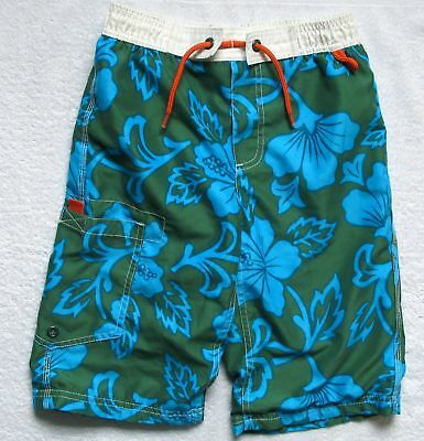 Boys Mini Boden green floral bathing swim suit shorts trunks 7-8Y 7 - 8 years
