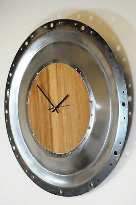 Baffle and Oak Clock made from baffle plate from a CFM56 Airbus Boeing Aircfaft