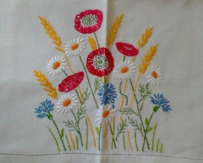 Vintage Hand Embroidered Linen Tablecloth Red Poppies Meadow Flowers Yellow Corn