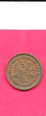 Cyprus British Km33 1955 Vf-Very Fine-Nice Old Vintage 3 Mils Fish Coin
