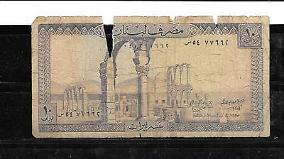 LEBANON #63e AG USED 10 LIVRES OLD BANKNOTE PAPER MONEY CURRENCY BILL NOT