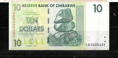 Zimbabwe #67 2008 Vg Used $10 Dollars Banknote Paper Money Currency Bill Note