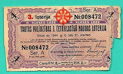 Latvia Lettland Germany Lottery Ticked 2 Rm. Red Cross 823