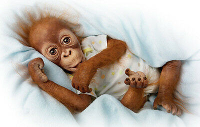 Ashton Drake Babu Baby Orangutan Poseable Doll with T-shirt and Nappy
