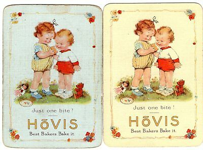 """Pair of WIDE RARE VINTAGE """"Hovis (Small Children) Bread"""" SINGLE Playing Cards"""