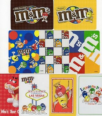"""9 Different MINT """"M & M`s Sweets/Candy"""" SINGLE Playing Cards"""