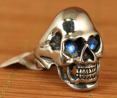 Cool Gift Art Chinese Copper Inlay Crystal Hand Carved Skull Statue Ring Noble