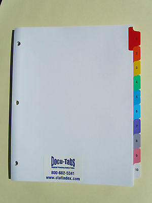 250 SETS # 1-10 Numbered index tab dividers, Colored tabs collated $1.18 per set