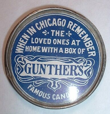 Antique advertising Pocket Mirror GUNTHER'S Famous Candies Chicago