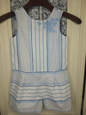Janie & Jack Size 5 Blue & White Striped Jumpsuit Embroidery Embellished GUC!