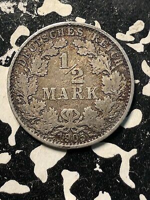 1905-A Germany 1/2 Mark (Many Available) Circulated (1 Coin Only) Silver!