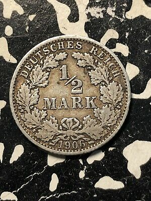 1906-A Germany 1/2 Mark (Many Available) Circulated (1 Coin Only) Silver!