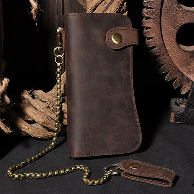 Retro Men's Leather Card Holder Chain Biker Trucker Wallet Checkbook Billfold