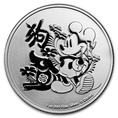 2018 1 oz Niue Silver $2 Disney Year of the Dog