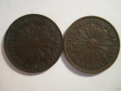 2 1869 one centisimo uruguay 19th century coins AS SHOWN *3330