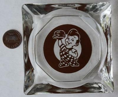 1960-70s Era Frisch's Big Boy glass ashtray-Brown old style running mascot logo!