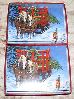LEANIN TREE Horses Pulling Wagon w/ Christmas Tree~24 cards/envelopes~Notelets