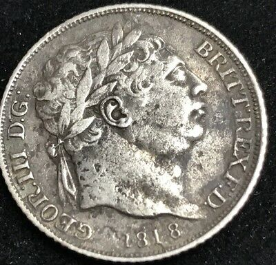 Antique Solid Silver King George III 1818 Sixpence