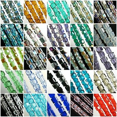 6mm/8mm/10mm Charms Glass Crystal Faceted Cube Loose Spacer Bead Free Shipping