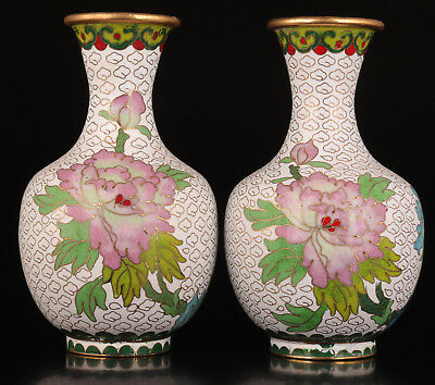 2 Rare Pair White Cloisonne Fine Flowers Adorn Vase Pot Collectable Old