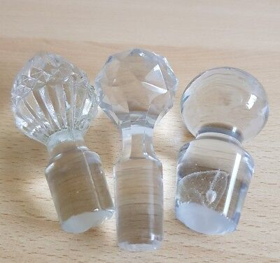 Collection Of 3 Glass Decanter Stoppers - Job Lot - Used but good condition
