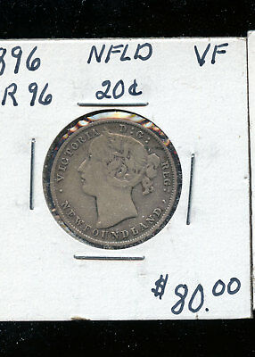 1896 Large 96 Newfoundland silver 20 cents F TB356