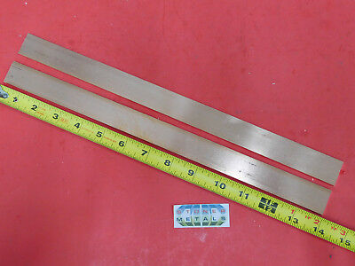 """2 Pieces 1/8"""" x 1"""" C110 COPPER BAR 14"""" long Solid Flat Mill Bus Bar Stock H02"""