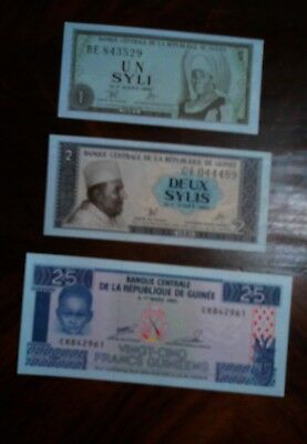 Guinea  Lot Of 3 Banknotes Excellent Shape