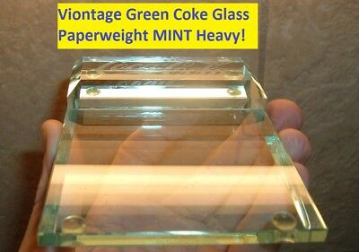 Vintage Coca Cola PAPERWEIGHT Older Coke Advertising Green Glass Paperweight