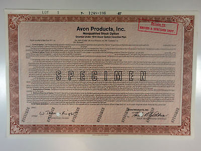 NY. Avon Products, Inc 1987 Specimen Stock Option Certificate XF ABN