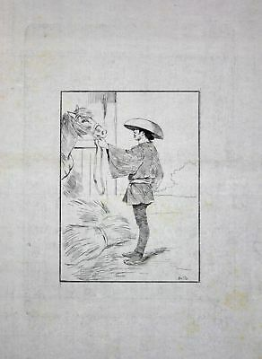 "1886 Georges Bigot ""Betto"" - groom with horse - Japan Radierung etching gravure"