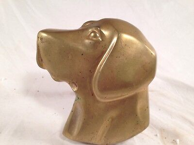 Labrador Lab Dog Head Solid Brass Door Knocker Vintage Antique Metal