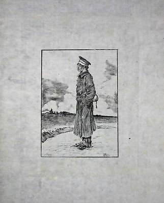 "1886 Georges Bigot ""Officier"" - Japan Radierung etching gravure"