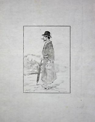 "1886 Georges Bigot ""Fonctionnaire"" civil servant Japan Radierung etching gravure"