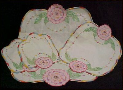 Vintage Antique Hand Embroidered Appliqued Doily Chair Set Runner 4 Pc 1940s