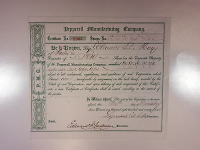 Pepperell Manufacturing Co., 1874 10 Shrs in Corporate Property I/U Stock Cert.