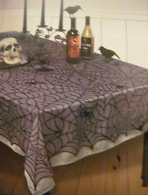 """NEW! Halloween Spider Web Polyester Lace Tablecover 60"""" x 84"""" FREE SHIPPING"""
