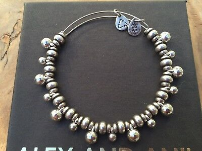 RARE ALEX and ANI BYZANTINE BOHEMIAN BALL Charm Drop SILVER Nile Beaded BANGLE