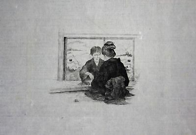 1886 Georges Bigot two seated ladies - Japan Radierung etching gravure