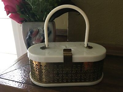 Vintage Midcentury purse carved white marbled lucite + brass filigree oval box