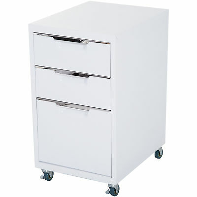 Mobile File Cabinet Pedestal Rolling Casters 3 Drawers Modern -White Metal Home