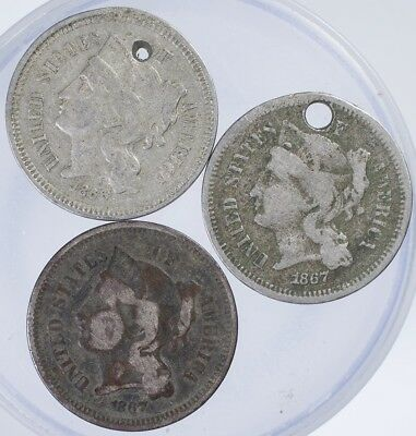 1866, 1867 Three Cent Nickel Damaged Lot of 3 Coins, 2 Holed, 1 Porosity