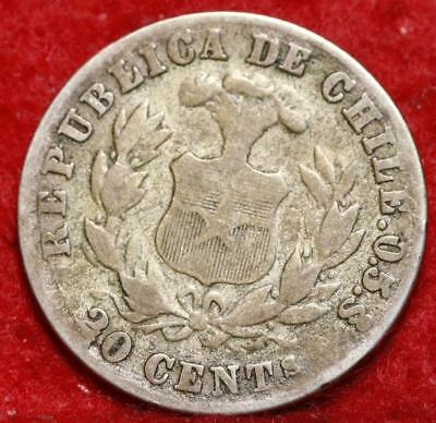 1880 Chile 20 Centavos Silver Foreign Coin