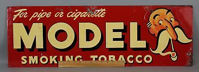 1930s Antique MODEL SMOKING TOBACCO Advertising Tin Sign, No Reserve!