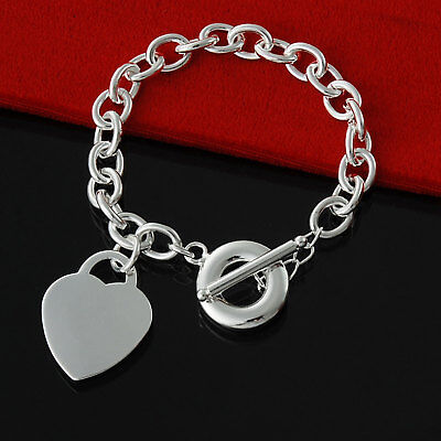 Genuine 925 Sterling Silver Charm Bracelet Toggle T Bar Heart Ball Bead Chain