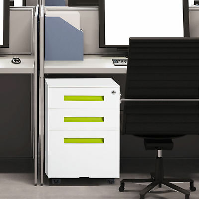 File Cabinet Lockable Pedestal Mobile with Casters 3 Drawers Metal -White Office