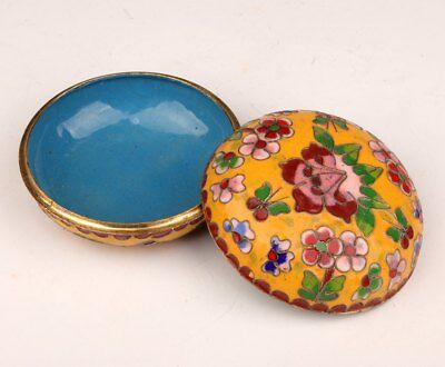 Cloisonne old Enamel Jewelry box Women Powder Box Gift Floral Traditional