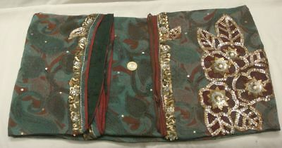 Vintage Heavy Saree Pure Crepe Silk Printed Sari With Hand Sequins Glass Beaded