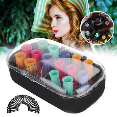 15 PCS Curlers Ceramic Electric Hair Rollers Tube Bendy Set Styling Stick Tool